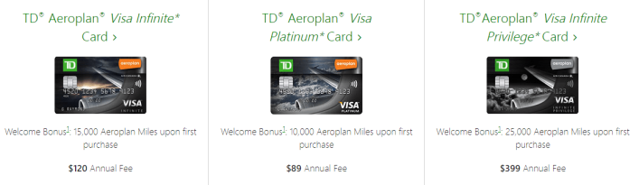 TD Aeroplan cards