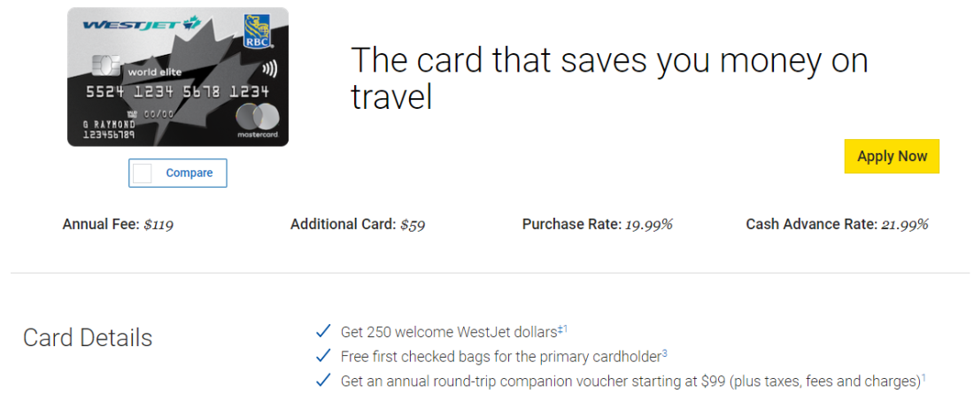 canadiantraveltips-rbc westjet card