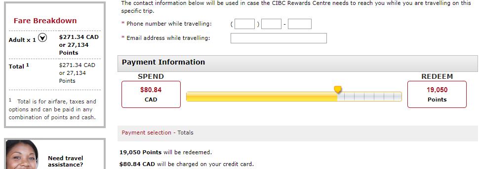 canadiantraveltips - cibc aventura split payment