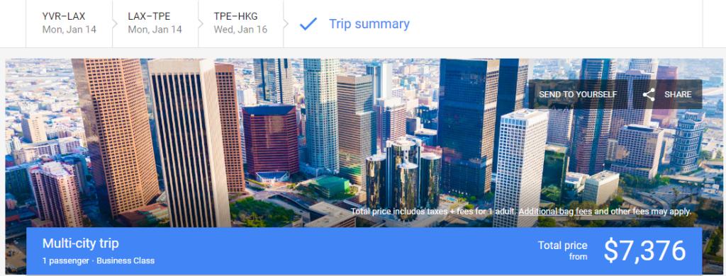 canadiantraveltips - google flight cost