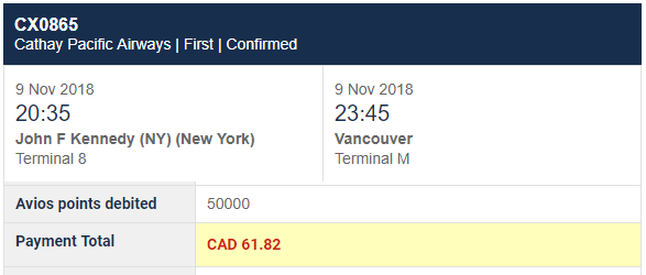 jfk-yvr avios booking