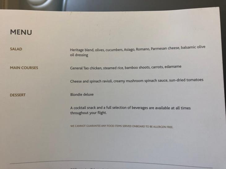 Air Canada A321 menu