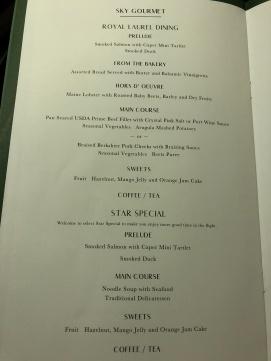 Eva Air Business Class 777 menu