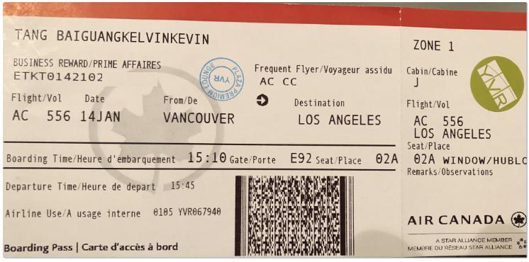 Air Canada Business Class boarding pass