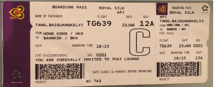 Thai Royal Silk boarding pass